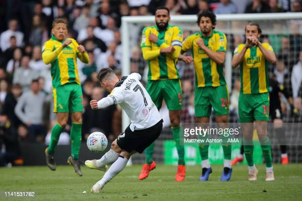 Wall defend a free kick taken by Harry Wilson of Derby County during the Sky Bet Championship match between Derby County and West Bromwich Albion at...
