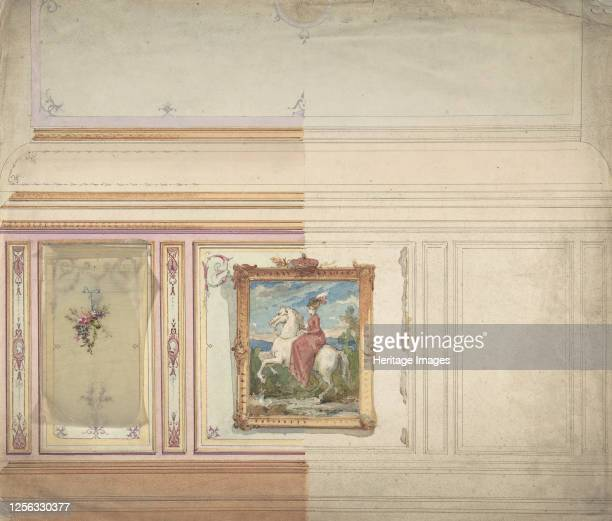 Wall Design including an Equestrienne Portrait 19th century Artist Anon