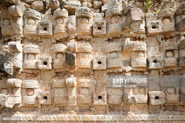 wall detail of kabah palace, mayan archaeological site in yucatan, mexico - yucatan peninsula stock pictures, royalty-free photos & images