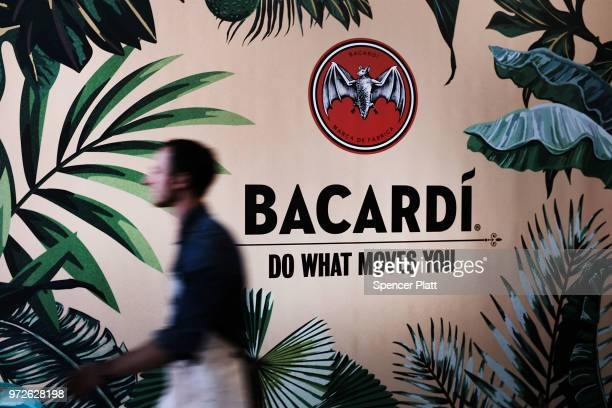 A wall displays an ad for Bacardi rum at Bar Convent Brooklyn an international bar and beverage trade show at the Brooklyn Expo Center on June 12...