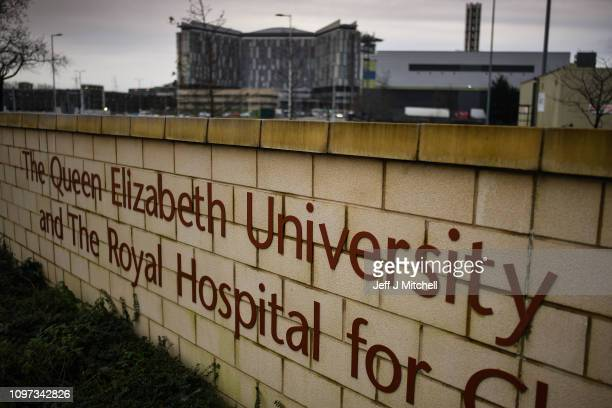 A wall displays The Queen Elizabeth University Hospital outside the hospital on January 21 2019 in Glasgow Scotland Two patients have died at the...