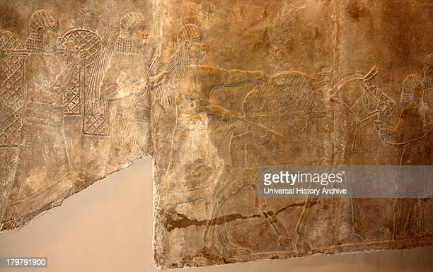 Wall fragment depicting king and his attendants going out hunting Assyrian circa 645635 BC From the North Palace in Nineveh