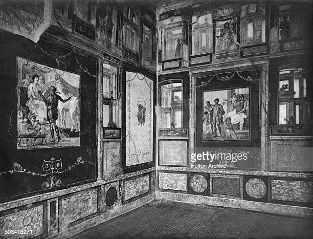 Wall frescoes in the Ixion room at the House of the Vettii in the ancient Roman city of Pompeii, Italy, circa 1955. The former home of two wealthy...