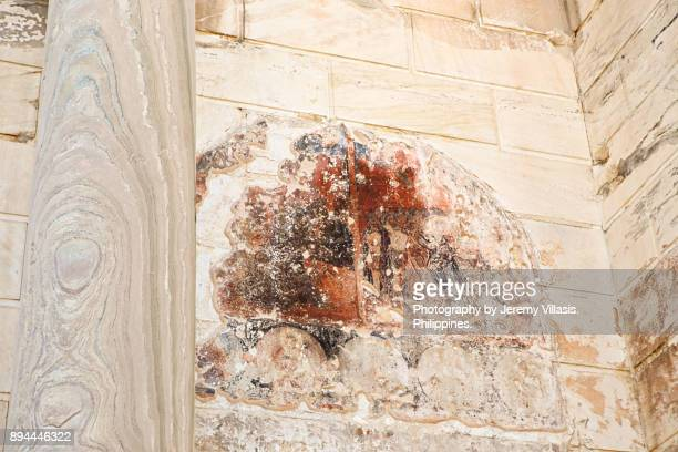 wall frescoes of hadrian's library in athens, greece. - fresco stock pictures, royalty-free photos & images