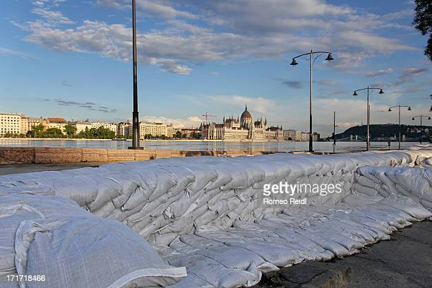 CONTENT] Wall from sandbags built as a protection against the flooding of the river Danube on the closed Bem wharf at the foot of the Margaret bridge...