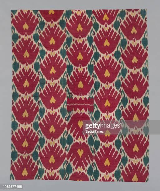 Wall Hanging Composed of Five Panels, 1850/75, Uzbekistan, Samarkand or Bukhara, Uzbekistan, Silk, warp-faced plain weave, warp-dyed , 166 x 132.1 cm...