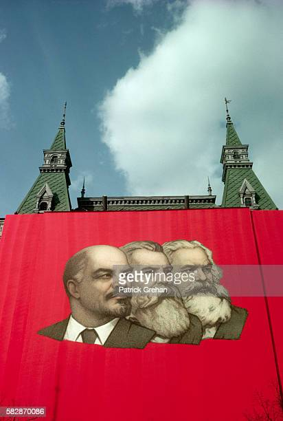 Wall Hanging of Lenin Marx and Engels on May Day Red Square