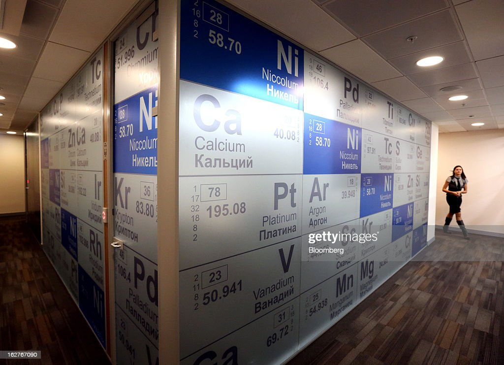 A wall is seen covered in the chemical symbols for precious metals including Platinum (Pt), and Calcium (Ca) inside the OAO GMK Norilsk Nickel company headquarters at Bolshaya Tatarskaya Street in Moscow, Russia, on Tuesday, Feb. 26, 2013. OAO GMK Norilsk Nickel, Russia's biggest mining company is the world's biggest producer of Nickel and Palladium. Photographer: Andrey Rudakov/Bloomberg via Getty Images