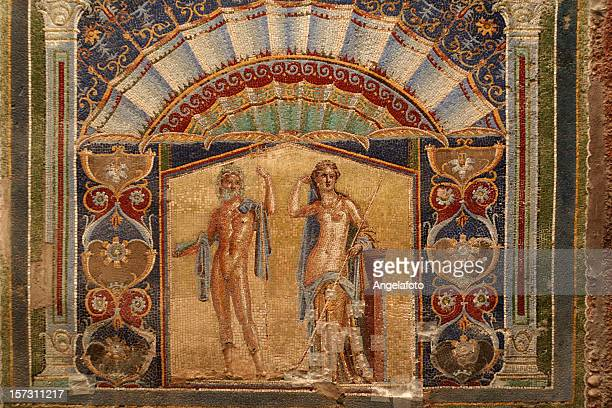 wall mosaic of neptune and amphitrite from herculaneum - roman stock pictures, royalty-free photos & images