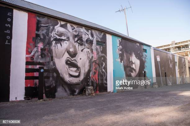 A wall mural by artist Brad Robson of drag queen Betty Grumble athlete Annette Kellerman poet Henry Lawson and fashion designer Akira Isogawa is seen...
