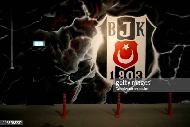 Wall mural is seen inside the stadium prior to the UEFA Europa League group K match between Besiktas and Wolverhampton Wanderers at Vodafone Park on...