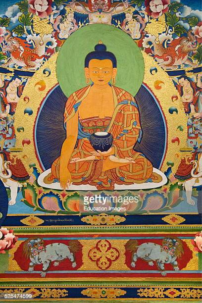 A Wall Mural Of Sakyamuni Buddha In The Main Temple At The Norbulingka Institute A Tibetan Buddhist Cultural Center Dharamsala India