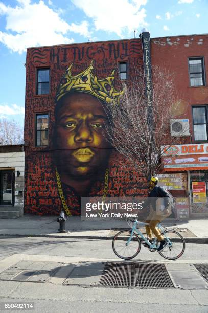 A wall mural of the Notorious BIG on Quincy Street at Bedford Avenue in Bed Stuy on Wednesday March 8 2017