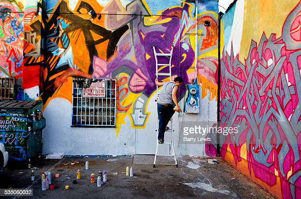 Wall murals being painted along a Montrose avenue alleyway Los Angeles