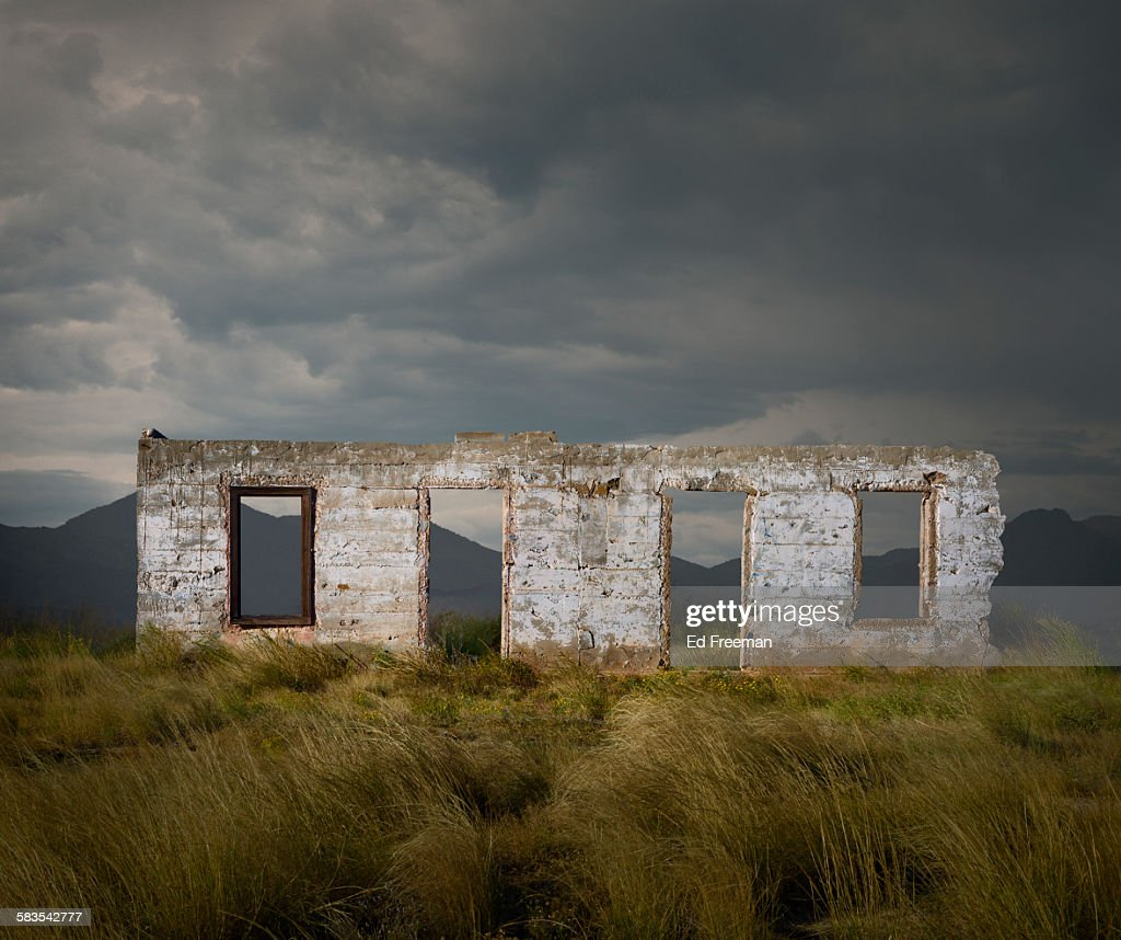 Wall of a Ruined Building in Rural Texas : Stock Photo