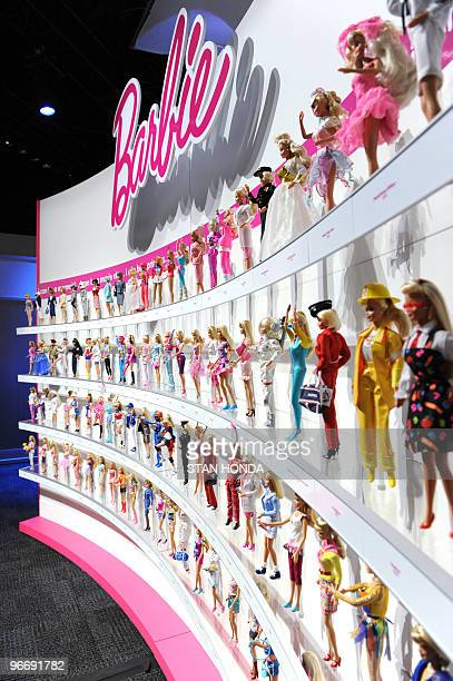 A wall of Barbie dolls in the Mattel display at the annual Toy Fair February 14 2010 in New York AFP PHOTO/Stan Honda