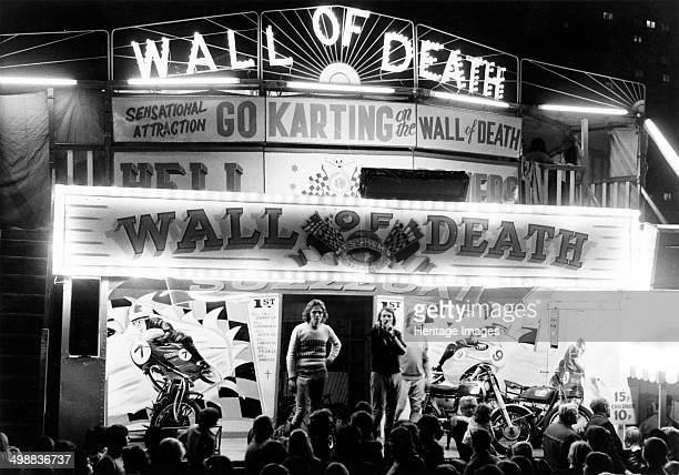 'Wall of Death' motorbike side show Goose Fair Nottingham Nottinghamshire 1973 The Goose Fair was originally held in Nottingham's Market Place for 8...