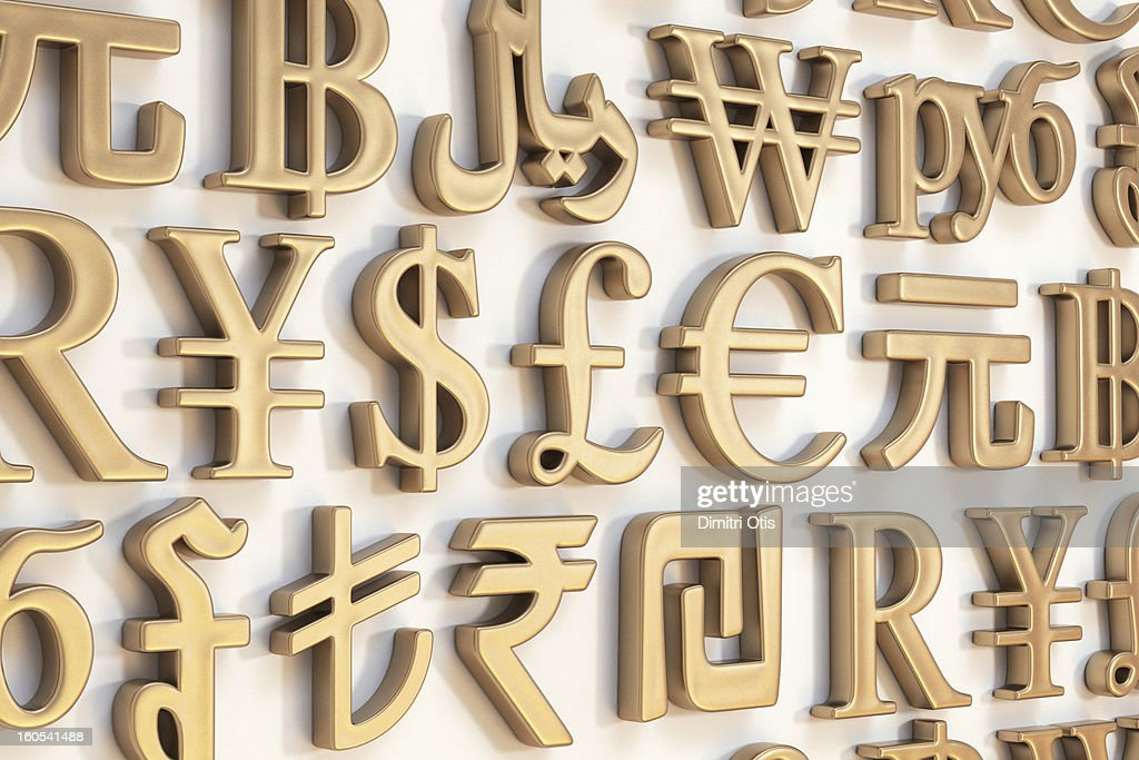 Wall Of Gold International Currency Symbols Stock Photo Getty Images
