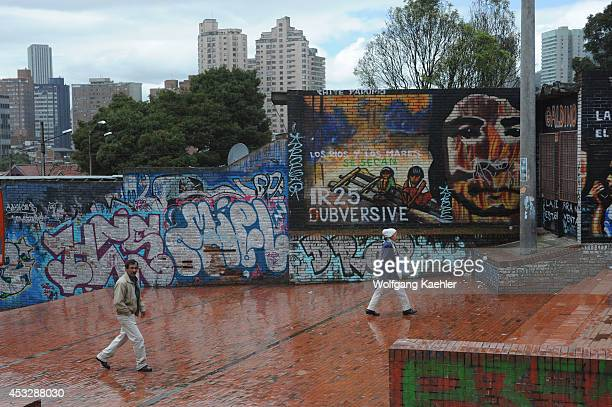 Wall of high school painted with graffiti in La Candelaria the old town of Bogota Colombia
