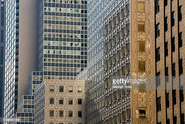 A wall of highrise buildings line east 42nd Street as viewed on September 10 2011 in New York City The borough of Manhattan was a tense mix of...