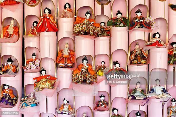 wall of hina ningyo - hinamatsuri stock pictures, royalty-free photos & images