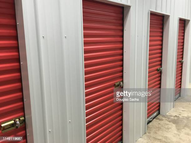 wall of individual walk-in storage lockers - self storage stock pictures, royalty-free photos & images