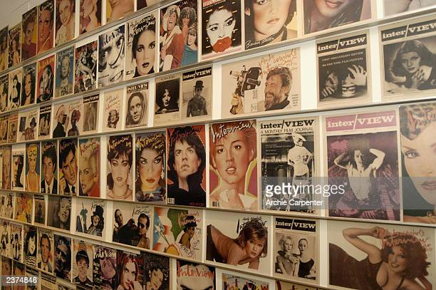 A wall of Interview magazine covers is one of the displays seen at The Andy Warhol Museum in Pittsburgh on August 6 2003 Pittsburgh Pennsylvania The...