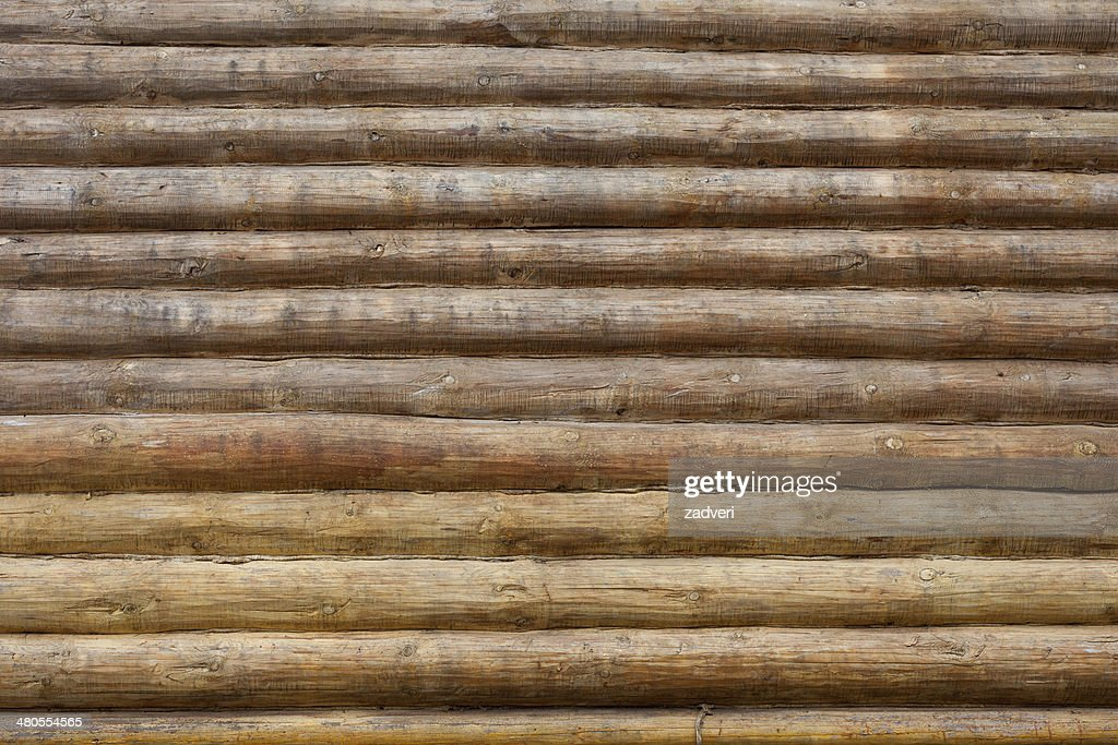 wall of log background : Stock Photo