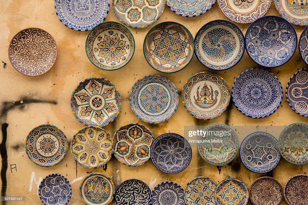 Wall Of Moroccan Plates In The Fez Medina High Res Stock Photo Getty Images