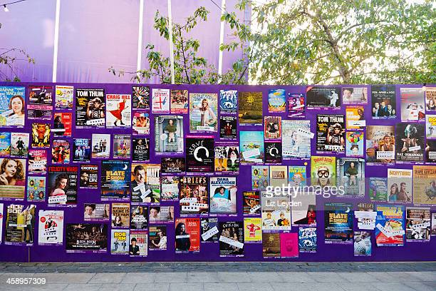 wall of posters for shows at edinburgh festival fringe - edinburgh fringe stock photos and pictures