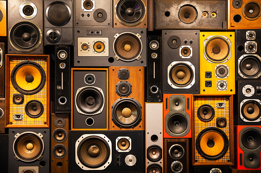 Wall of retro vintage style Music sound speakers 1174207130