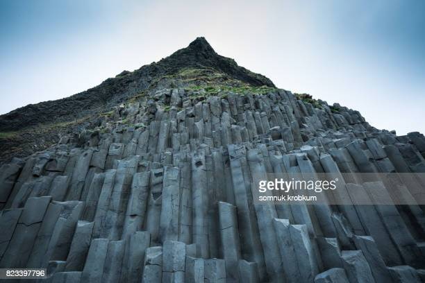 Wall of volcanic rock mountain in Vik;Iceland