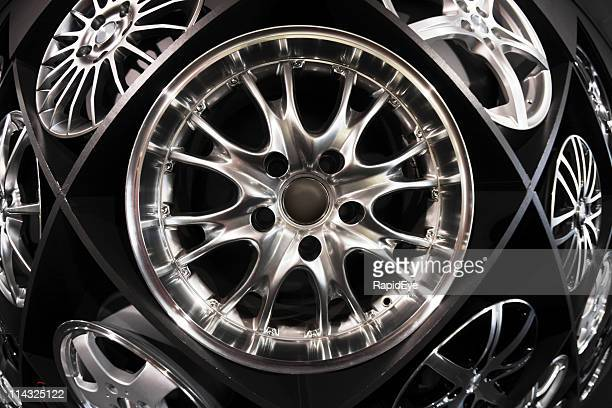 wall of wheels - magnesium stock pictures, royalty-free photos & images