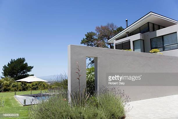 壁のモダンな家