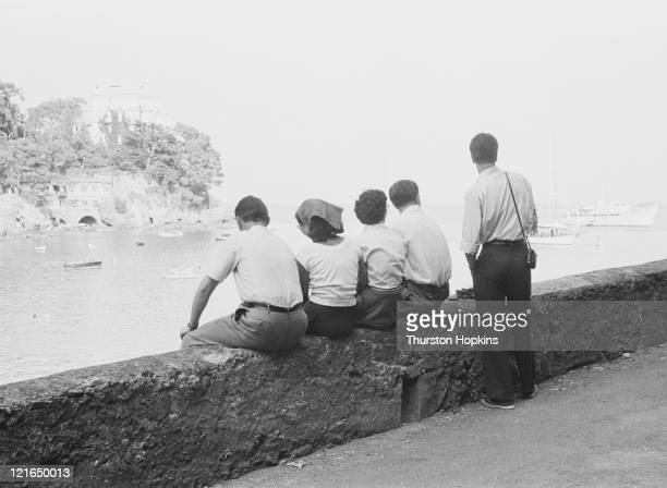 A wall overlooking Paraggi Beach near the tourist resort of Portofino Italy August 1952 Original Publication Picture Post 6023 unpub