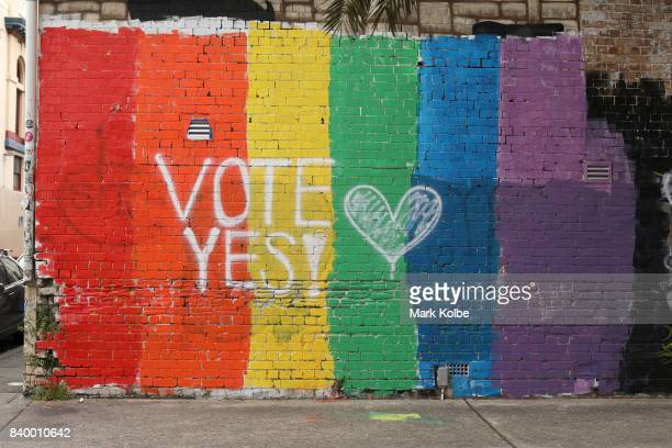 A wall painted with the rainbow flag and a message 'Vote Yes' is seen in Newtown on August 28 2017 in Sydney Australia The Australian Marriage Law...
