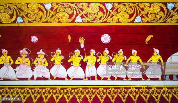 wall painting at sri dalada maligawa, kandy. - imagebook stock pictures, royalty-free photos & images