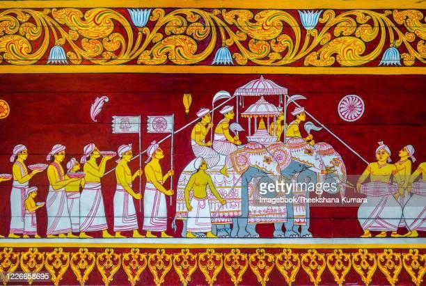 wall painting at sri dalada maligawa. - imagebook stock pictures, royalty-free photos & images