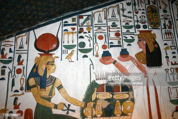 Wall Painting depicting the Goddess Isis with Nefertari Great Wife of Pharaoh Ramesses II Inside the tomb of Nefertari in Egypt's Valley of the...