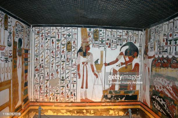 Wall Painting depicting, Thoth and Nefertari, inside the tomb of Nefertari, Great Wife of Pharaoh Ramesses II, in Egypt's Valley of the Queens. It...