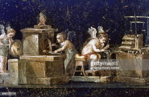 Wall painting from the House of the Vetti, in the Roman city of Pompeii. The house partially survived the volcanic eruption of Vesuvius in 79 AD. The...