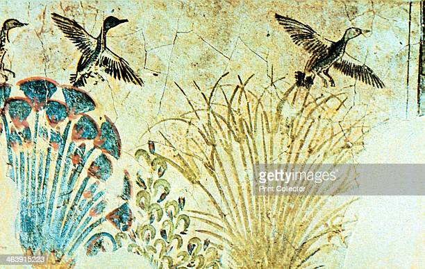 Wall painting from the tomb of Akhenaten Ancient Egyptian 18th Dynasty c1375 BC The painting shows waterfowl flying up out of reeds On the left is a...