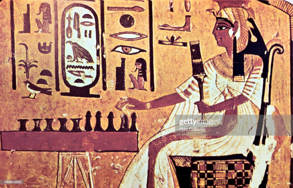 Wall painting from the tomb of Nefertari, Thebes, Ancient Egypt, 19th Dynasty, 13th century BC. : News Photo