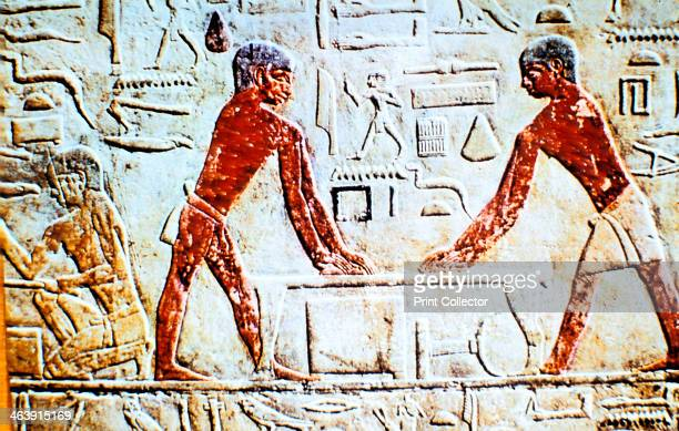 Wall painting from the tomb of Ti Saqqara Ancient Egypt Early 5th Dynasty c24982450 BC A detail of a painted relief showing two carpenters at work Ti...