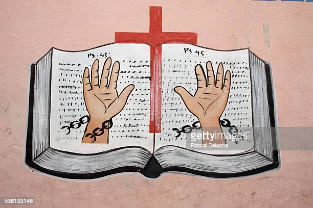 wall painting in an evangelical church - free bible image stock pictures, royalty-free photos & images