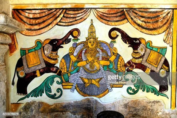 Wall painting in corridor in Brihadeshwara temple, Tanjore Thanjavur, Tamil Nadu, India