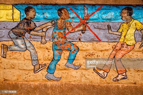Wall painting in Ouahigouya, Burkina Faso : say no to violence