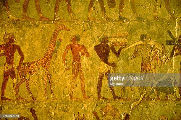 A wall painting in the mortuary temple of Hatshepsut Egypt's only woman pharaoh depicting her expedition to Punt now Ethiopia with a procession of...
