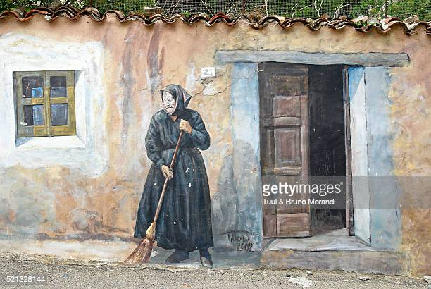 Wall painting in the village of Fonni in Sardinia, Italy