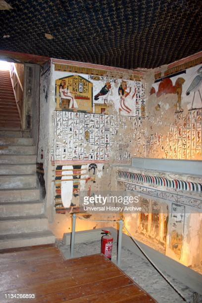 Wall Painting Inside the tomb of Nefertari in Egypt's Valley of the Queens It was discovered by Ernesto Schiaparelli in 1904 It is called the Sistine...